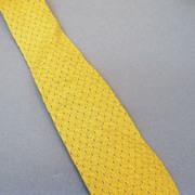 SALE GIORGIO ARMANI  Yellow with Navy Pin Dot Jacquard Silk Tie