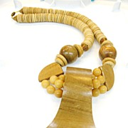 SALE Modernist Giant Wood Bead Necklace