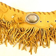 SALE 1980s Lambskin Fringed and Shell Detail Wrap Around Sexy Lady Belt