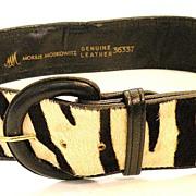 SALE MORRIS MOSKOWITZ Black and White Zebra Skin Belt
