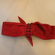 SALE Red Soft as Butter Leather Tie Belt