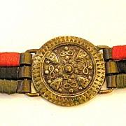 SALE European Red Olive Black Leather Coin Belt
