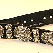 SALE Black Western Leather Belt with Silver Tone Metal Details
