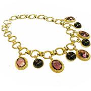 SALE Purple and Black Drop Bookchain Necklace