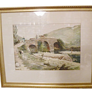 SALE European Watercolor Scenic Stone Bridge and Pastoral Painting from High End Estate