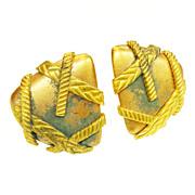 SALE MONET Darkened Copper and Brass Tone Triangular Earrings