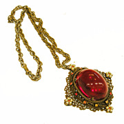 SALE Jello Red High Domed Cabochon Baroque Filigree Pendant Necklace