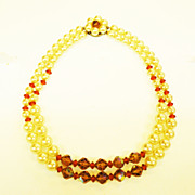 SALE Mad Men Era Imitation Pearl with Amber and Smoke Beads