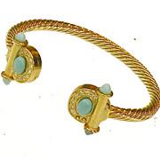 SALE Turq and Rhinestone Braided Effect Gold Tone Metal Open Bangle Bracelet