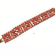 SALE Pretty Pink Moonstone and Rhinestone Prong Set Bracelet