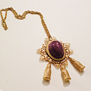 SALE Giant Purple Cabochoned Tasseled Pendant Necklace