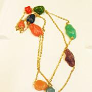 SALE Multi Color Chunky Free Form Long Sautoir Necklace