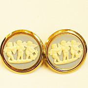 SALE Three Cupids Wedgwood Blue and Cream Colored Cameo Cuff Links