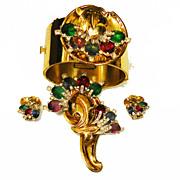 SALE McCLELLAND BARCLAY Multi Color Rhinestone Cuff Bracelet, Brooch, Earrings Estate Set