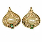 SALE Imitation Pearl, Pave and Green Glass Gorgeous Tear Drop Shaped Earrings