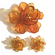 SALE Superb Celluloid Giant Flower and Earrings in Shades of Amber