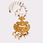 SALE Giant Faceted White Bead and Gold Tone Metal Etruscan Revival Pendant Necklace