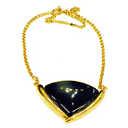 SALE MONET Chunky Black Resin Drop Necklace in Gold Tone Setting