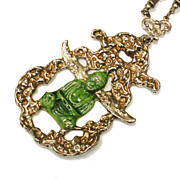 SALE Interesting Link and Ball Chain Green Enameled Buddha Pendant Necklace