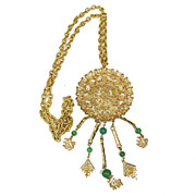 SALE Huge GOLDETTE Asian Inspired Xtra Long Pendant Necklace w Green Glass Drop