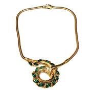SALE 1950's CROWN TRIFARI Pat Pend Green Rhinestone Gold Tone Snake Chain Necklace