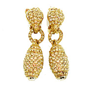 SALE TARA Pave Rhinestone Drop Crystal Earrings with Large Rhinestone Bottom