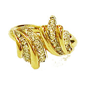 SALE TRIFARI Gold Tone Metal and Pave Rhinestone Cross Over Bypass Wave Ring