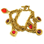 SALE Double Strand Double Sided Red and Purple Rhinestone Monet Charm Bracelet
