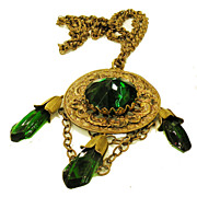 SALE Gorgeous Green Dangling Tasseled High Domed Faceted Cabochon Pendant Necklace
