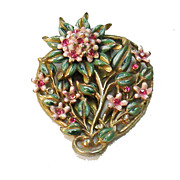 SALE Early Enameled Flower and Leaf Dress Clip Brooch with Pink Rhinestones