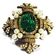 SALE Gorgeous Green Ribbed Cabochon Center Maltese Brooch with Pave and Imitation Pearl Accent