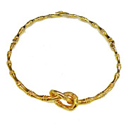 SALE DONALD STANNARD Bamboo Look Textured Gold Tone Metal Pretzel Design Hinged Necklace