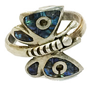 SALE Peacock Shell Inlay Sterling Butterfly Ring