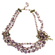 SALE Ladylike Lilac and Clear European Glass Bead Necklace with Triple Strand Drop and Brass D
