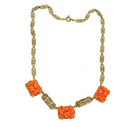SALE Art Deco Sterling and Carved Coral Colored Resin Drop Necklace