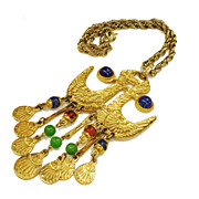 SALE PENDING Large Mogul Colored Bead and Gold Tone Metal Love Bird Tasseled Pendant Necklace