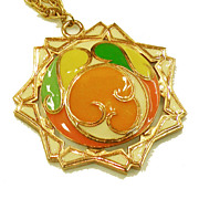 SALE 1970s Pop Op Art Orange, Green and Yellow Pendant Necklace