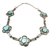 SALE Pewter Color with Iridescent Aqua Stones Arts and Crafts Necklace