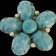 SALE SCHREINER Aqua Lava Rock Floral Shaped Brooch with Imitation Pearls