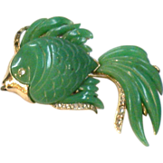 SALE Gold Tone with Green Resin Stylized Fish Brooch with Pave Accents