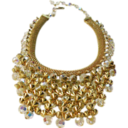 SALE Gold Tone Metal Mesh with Aurora Borealis Beaded Tier Necklace.