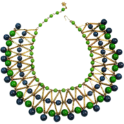 SALE VENDOME Egyptian Revival Blue & Green Bead Gold Tone Bib Necklace
