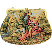 SALE Pastural Scene Tapestry Purse with Metal Frame and Spring Closure