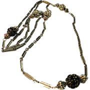 SALE Gunmetal Tone Metal Large Round Rondelle Sautoir Necklace