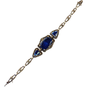 SALE Art Deco Sterling Silver Marcasite and Sodalite Link Bracelet