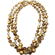 SALE MARVELLA Shades of Brown and Gold Tone Three Strand Beaded Necklace