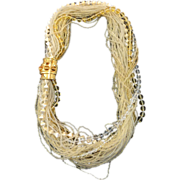 SALE Thirty Nine Strand Cream and Beige Multi Bead Necklace with Cabochoned Clasp
