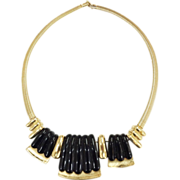 SALE NAPIER Articulated Gold Tone and Black Resin Modernist Dimensional Snake Chain Necklace