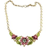 SALE 1939 CROWN TRIFARI Alfred Philippe Enameled Purple Flower and Green Leaf Necklace