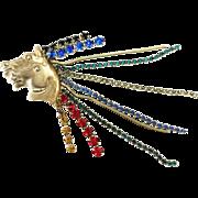 SALE Wild Huge Multi Color Rhinestone Mane Double Horse Head Brooch Pin